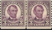 ORLEY STAMPS US Stamp Scott#  600 Lincoln 1924  Line Pair MNH
