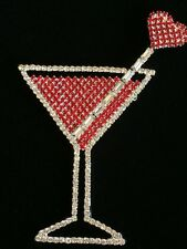 """VALENTINE WEDDING LOVE HEART RED COCKTAIL MARTINI GLASS PIN BROOCH JEWELRY 3.75"""""""