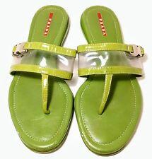 Prada Sport Patent Leather Green Flip Flops Flat Clear Upper Sandals US 8.5M