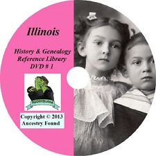 ILLINOIS - History & Genealogy -206 old Books on DVD - Ancestors, County, CD, IL
