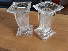 """PAIR OF VINTAGE DECO LEAD CRYSTAL  VASES 7"""" X 4"""" GREAT CONDITION"""