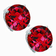 Round Cut Ruby 14k White Gold Sterling Silver Stud Earrings New