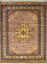 Rugstc 4.5x7 Pak Persian Beige Area Rug, Hand-Knotted,Medallion with Silk/Wool