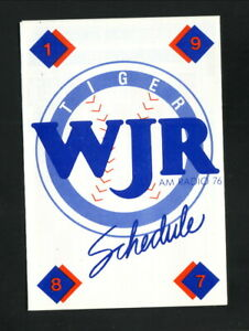 Detroit Tigers--1987 Pocket Schedule--WJR/Honeybaked