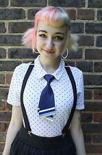 Satén azul Kawaii Japón School Girl Cosplay Indie Grunge pre-tied Bow Tie