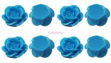 15 x Rose Resin Flat Back Cabochon Flowers 18mm x 8mm - Aqua Blue - CAB10