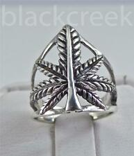 .925 Sterling Silver ~  ~Cannabis Weed~ Ring ~ Size 7