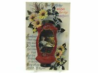 Antique printed postcard Birthday Card Oriental lantern flowers my Sweetheart