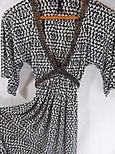 Sexy Deep-V Dress~Black/White Print Travel Knit Braided Leather Trim~34B 24W 36L