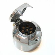 7 Pin Socket Traiiler Towbar Car Caravan Horsebox Tow Wiring Lights 12v Metal