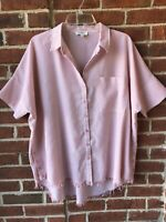 Umgee Women's Shirt Top Pink White Short Sleeve Button Up Striped Sz M Blouse