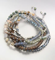Urban Artisanal Bronze Hematite Blue Silver Crystals Wrap Bracelet Necklace
