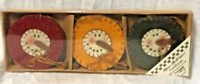 """Primitives By Kathy S/ 6 CHRISTMAS 3"""" Wool COUNTRY SNOWHEAD CIRCLE ORNAMENTS"""