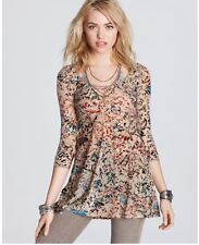 Free People Print Musa Burnout Velvet Top Brown Multicolor XS