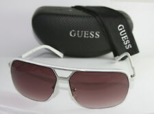 Authentic GUESS GF159-24B-65 Womens Aviator Sunglasses WHITE / SILVER NEW!