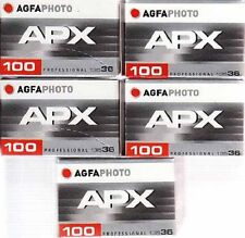 New 5 Rolls of Agfa APX 100 135-36 Black & White Professional Film Exp 07/2020