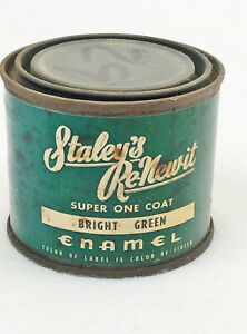 VINTAGE STALEY'S RE-NEW-IT ENAMEL - BRIGHT GREEN - FEELS FULL - COLLECTORS ITEM