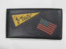 New tag Mens Coach Black New York Leather Universal Phone Case Wallet F24650