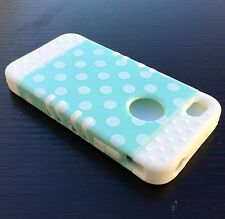 For iPHONE 4 4S - HARD&SOFT RUBBER HYBRID ARMOR CASE COVER MINT BLUE POLKA DOTS