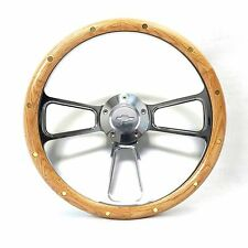 Steering Wheel Oak and Billet Chevy Bowtie Full Kit  1957-63 Bel Air, Impala