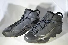 Michael Jordan 6 Rings~Charcoal Black~ 322992 003 Size 9.5 lace locks  blackout