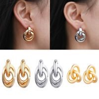 1 Pair Women's Alloy Metal Gold Silver Geometric Ear Stud Earrings Jewelry Gift
