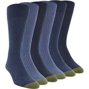 Gold Toe Men's Stanton Crew Socks, 6 Pairs, Chambray/Denim/Midnight, Size 12.0