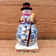 "Jim Shore Winter Folk Snowman Candle Holder Home Decor Display Quilt Print 7"""
