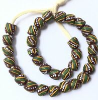 Ghana Brown and green swirl recycled glass Short strand African Trade beads