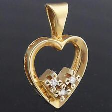 Vintage 60's Sweet Petite Solid 9k GOLD 3 DIAMOND ROMANTIC LOVE HEART PENDANT