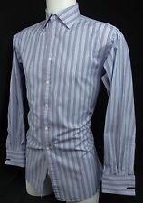 THOMAS PINK Shirt French Cuffs  Blue Striped Long Sleeve Button Down - 15 1/2