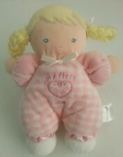 """Carter's My First Doll 8"""" Pink White Plush Baby Rattle Lovey Blonde Pigtails"""