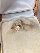 Ancienne Bague Art Deco En Or Jaune 18k 750 Et Diamants Rubis