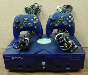 Ice Blue Microsoft Xbox Video Game System with TWO controllers Tested & Working