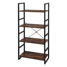 New Listing4 Tier Bookcase Shelf Storage Organizer Wood and Metal Bookshelf Rack