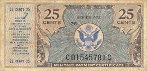 USA / MPC  25  Cents  1947  Series  472  Plate # 26  Circulated Banknote