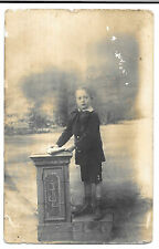 Posed Photo of Young Boy in Shorts with Book, RP PPC, Unposted