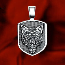 WOLF HEAD SHIELD PROTECTION TALISMAN AMULET 925 STERLING SILVER PENDANT NECKLACE