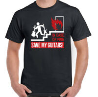 In Case Of Fire Save My Guitars! Mens Funny Guitarist T-Shirt Acoustic Electric