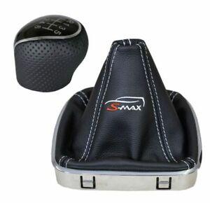 Ford S-Max 06-09 Perforierter Schaltknauf Schaltsack mit Stickerei  Echtes Leder