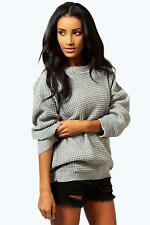 Women's Waist Length Boat Neck No Pattern Jumpers & Cardigans