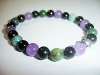 Protection Stones Bracelet Tourmaline Jet Black Amethyst Jade Natural Gemstones