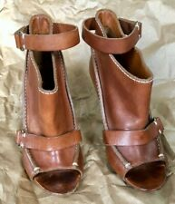 Givenchy saddle brown leather open toe boot heels shoes 35.5