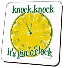 Knock Knock It's Gin O'Clock - Funny Drinks Coaster - Humorous Gift