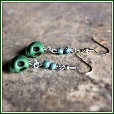 Crackle Dangle Earrings Handmade Green Skull Green