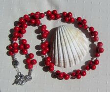 "Natural Red Coral Gemstone Chunky Beaded Necklace ""Crimson Berry"""