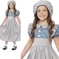 Girls Victorian School Girl Costume + Hat Book Week Fancy Dress Outfit
