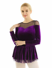 Women Adult Ice Skating Dress Dance Competition Costume Figure Skater Skirt L
