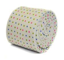 Frederick Thomas blanc cravate & multicolore pointillée motif 100% coton ft2184