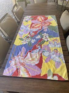 "VTG RALPH LAUREN Tropical Floral Bath Beach Towel Purple Blue Red Signed 59""x31"""